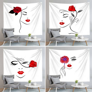 Simple Line Wrawing Women With Rose Tapestry Wall Hanging Red And White Hippie Carpet Decor For Living Room Bedroom Bedspread