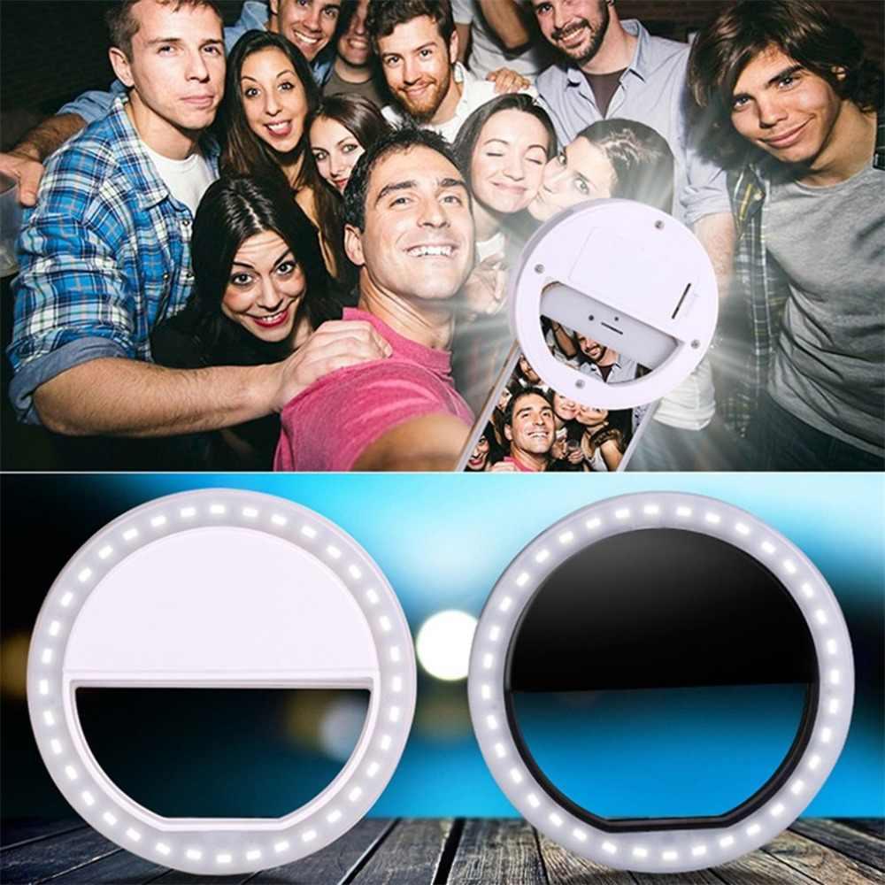 Selfie LED anneau Flash lumière Portable téléphone Portable 36 LED S Selfie lampe lumineuse Macro lumière de remplissage HD lentille Mobile pour Iphone