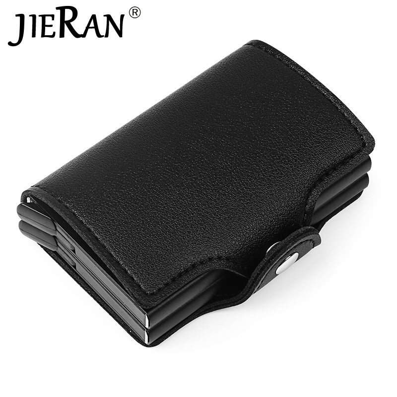 Wallet PU Automatic Credit Card Holder Travel Double Aluminum RFID Pop Up Blocking Wallet Bank Card Bag Money Case Protection image
