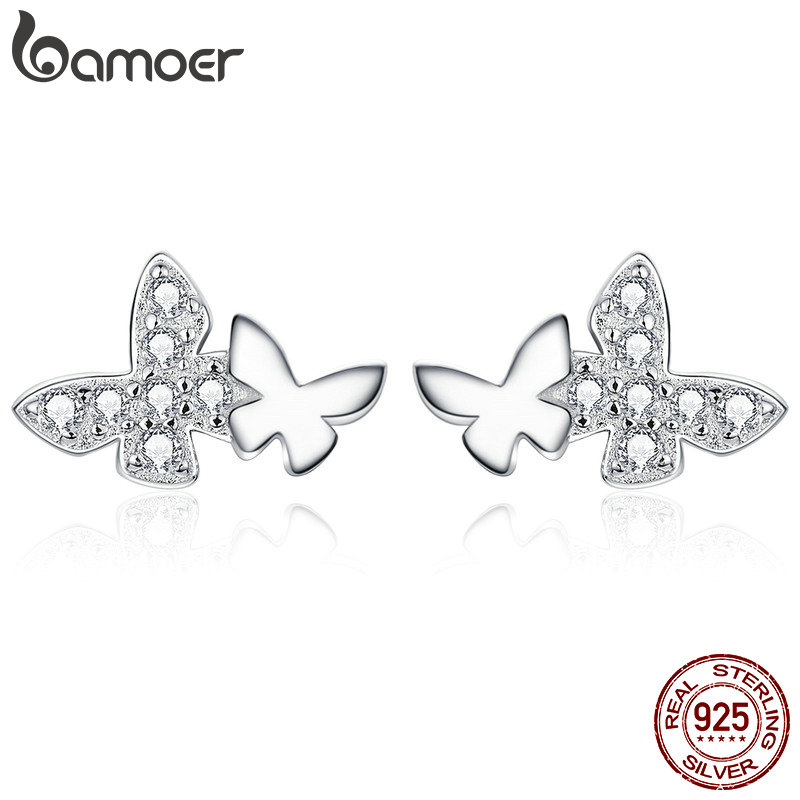 bamoer Flying Butterfly Couples Stud Earrings Clear CZ Shiny Elegant Ear Studs 925 Sterling Silver Jewely Accessories BSE236