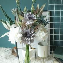 1PC Dahlia Bouquet Simulation Blume Bouquet Künstliche Blume Hochzeit Party Dekoration Hause Dekorative Gefälschte Blume