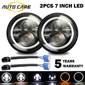 1 Pair 7 INCH 280W LED Headlights Halo Angle Eye For Jeep Wrangler CJ JK LJ 97-18