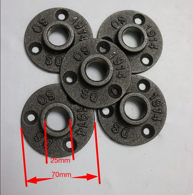 10PCS (-DN20-3/4''Pipe ) Cast Iron Industrial Pipes Flange Wall Base LOFT Furniture Decor Table Feet Base