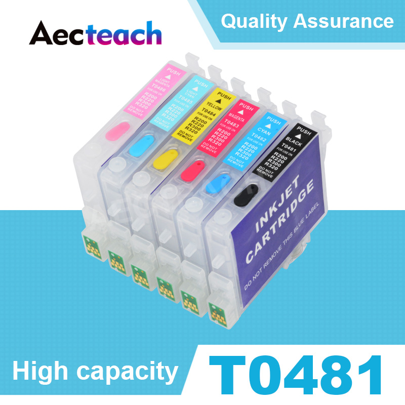 Aecteach T0481 T0482 T0483 T0484 T0485 T0486 Refillable Ink cartridge for Epson Stylus Photo R200 R220 R300 R300M R320 Printer image