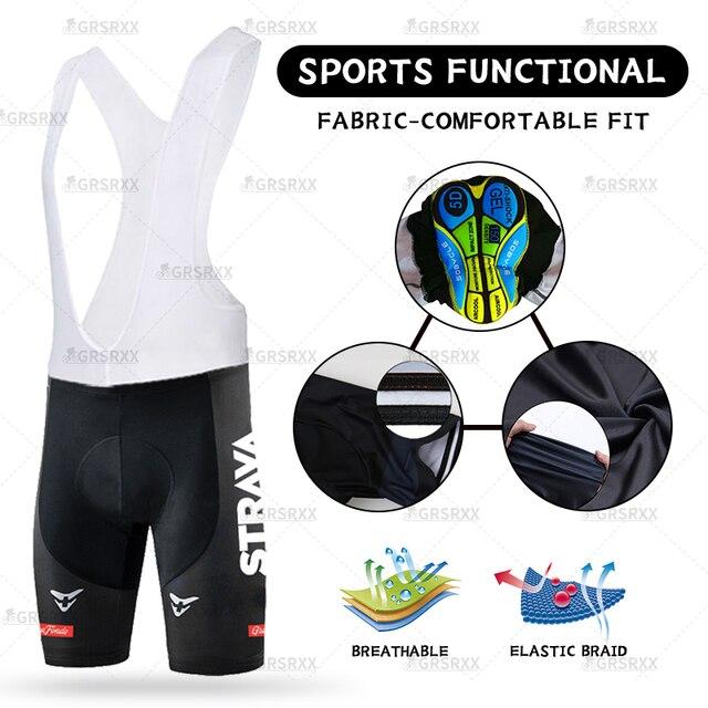 STRAVA Unisex Cycling Bib Shorts 2021 Summer MTB Bike Shorts Womens Mens Cycling Tights Racing Bib Shookproof Bicycle Trousers