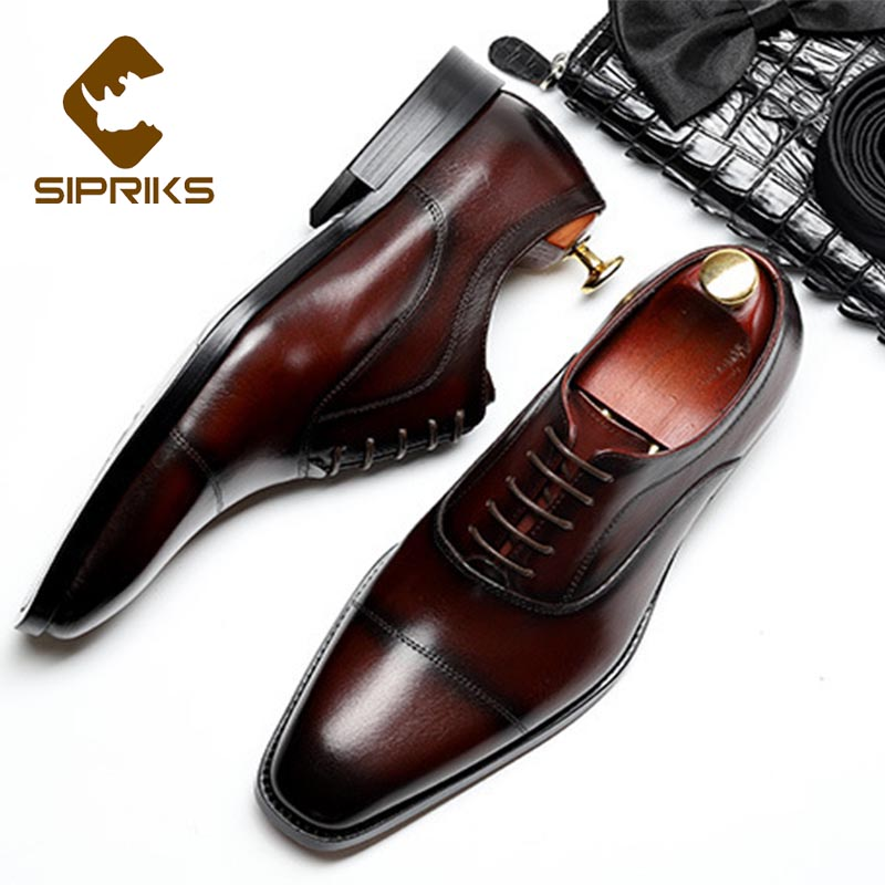 Sipriks Mens Italian Handmade Dress Shoes Genuine Leather Church Shoes Wine Red Burgundy Black Oxfords Cap Toe Social Gents Suit