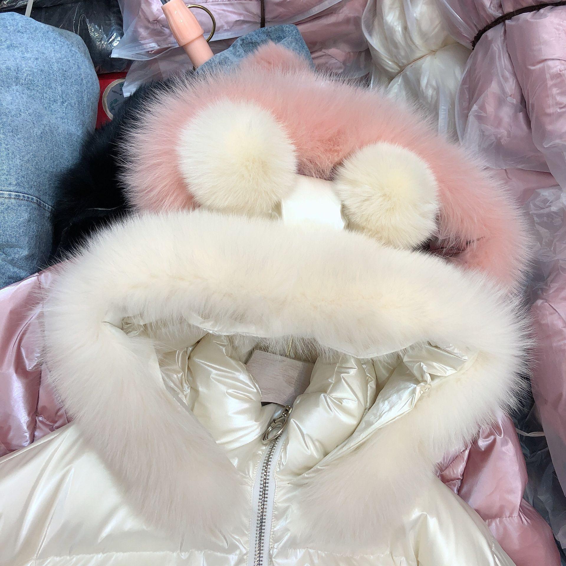 Новинка 2019, зимняя куртка с воротником из натурального Лисьего меха, свободная яркая хлопковая парка с капюшоном, женская короткая куртка, утепленная розовая куртка - 5
