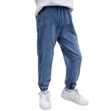 Dżinsy dla chłopca jednokolorowe dziecięce dżinsy dla chłopców wiosenne jesienne dżinsy dziecięce Casual Style dziecięce jeansy 6 8 10 12 14 tanie tanio Honikuyi Na co dzień Pasuje prawda na wymiar weź swój normalny rozmiar 11N0256 Elastyczny pas Chłopcy Stałe REGULAR