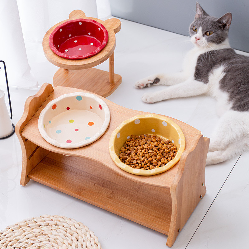 Ceramic Elevated Raised Cat Bowl With Wood Stand No Spill Pet Food Water Feeder Cats Small Dogs Best Selling Pet Supplies