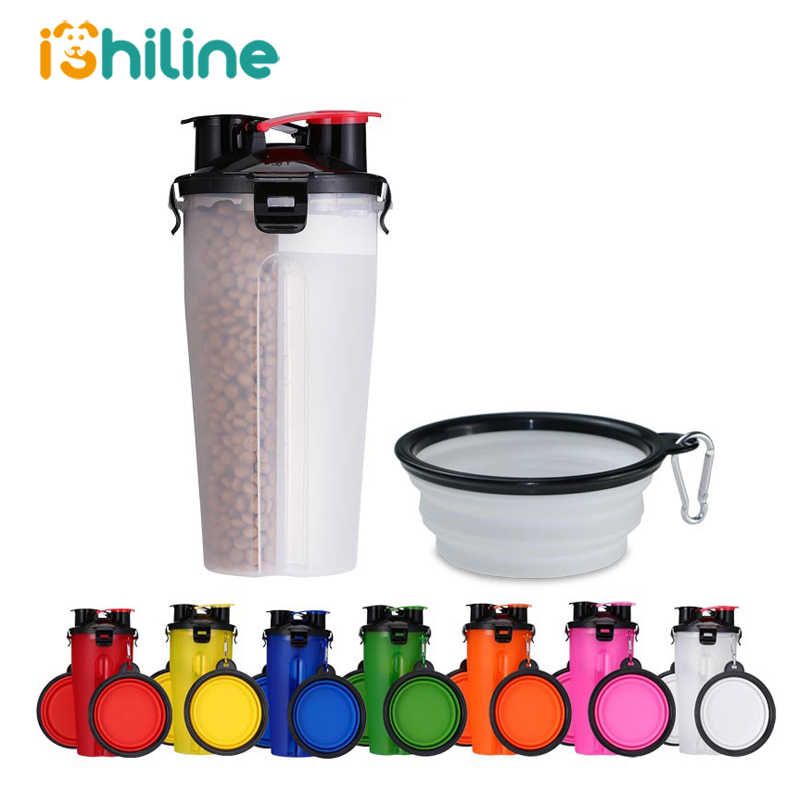 Taşınabilir 2 in 1 Pet katlanır su şişesi gıda konteyner katlanır silikon hayvan mama kabı açık seyahat köpek kedi besleyici kupası kase