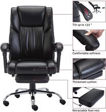 Ergonomic Office Executive Chair with Foldable Upholstered Footrest  Computer Chair Adjustable and Reclining Backrest
