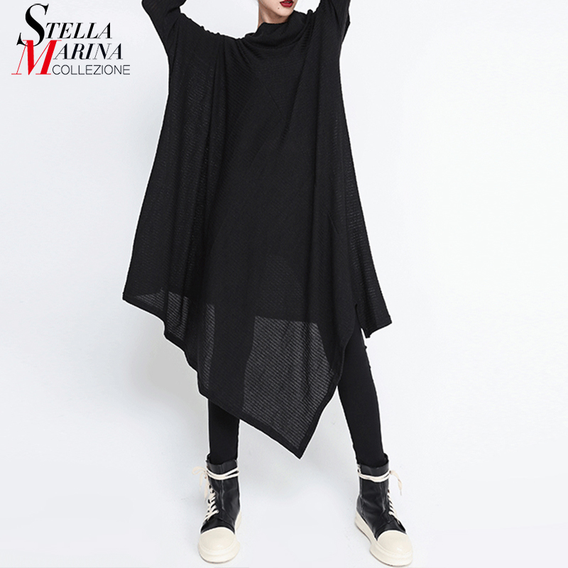 New Women Long Sleeve 2019 Winter Black Asymmetrical Sweater Dress Long Sleeve Scarf Neck Lady Loose Plus Size Knitted Dress 227