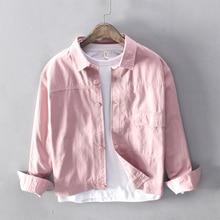Autumn Fashion Classical Men Shirts High Quality 100% Cotton Long Sleeve Casual Pink Color Campus Boyfriend