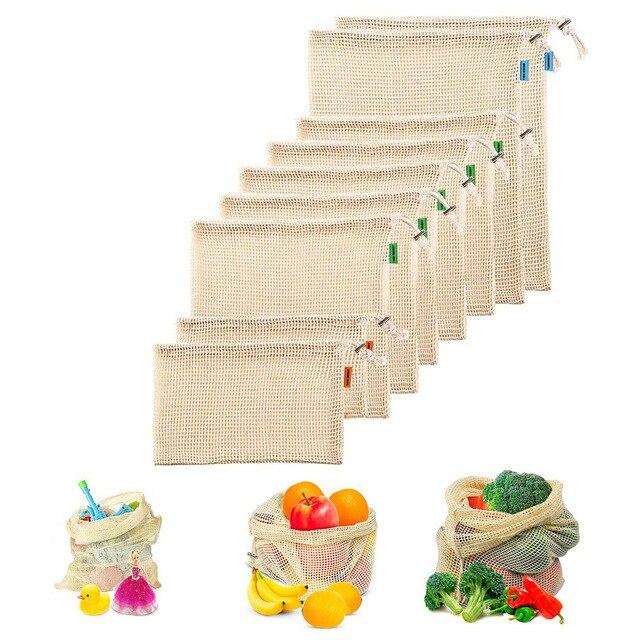 Siatki bawełniane worki warzywne produkują torby wielokrotnego użytku siatka bawełniana worek do przechowywania warzyw kuchenny owoc warzywny ze sznurkiem
