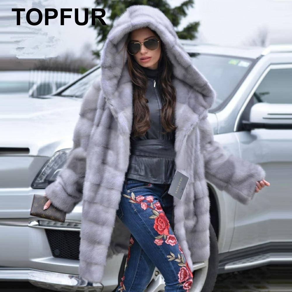 TOPFUR 2019, зимняя шуба из настоящей норки, женская шуба из натурального меха норки, средние шубы с поясом, толстые теплые шубы с длинными рукава...