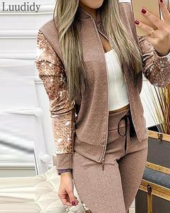 Sequins Zipper Design Jacket & Drawstring Pants Set