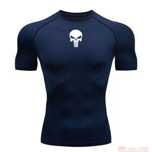 Новая футболка для бега, летняя футболка с коротким рукавом для тренировок в тренажерном зале, рубашка с черепом, MMA, тактическая футболка, т...