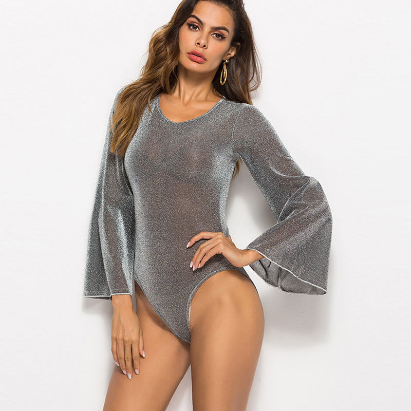 Women Bodysuit Ladies Sexy Sequin Bodysuit Stretch Solid Casual Leotard Long Flared Sleeve Top   Jumpsuit   Party Autumn Clothes 3XL