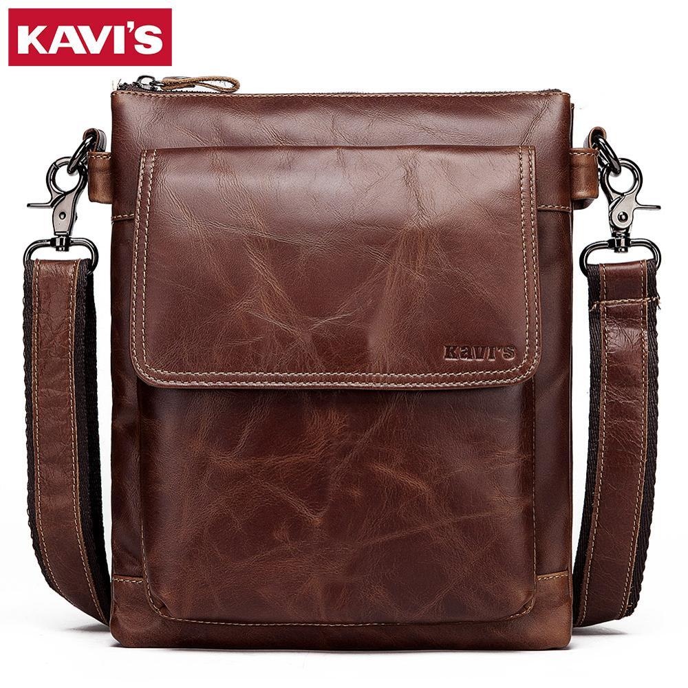 KAVIS 2019 New Cowhide Genuine Leather Messenger Bag Small Handbags Men Shoulder Bags Business Crossbody Male Famous Sling Sac