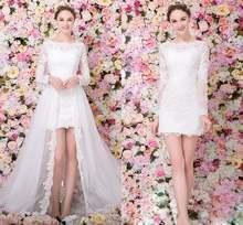 Новое Кружевное пляжное свадебное платье со съемным шлейфом