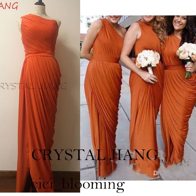 Burnt Orange Bridesmaid Dresses One Shoulder Draped Dress Long Maid Of Honor Dresses With Split