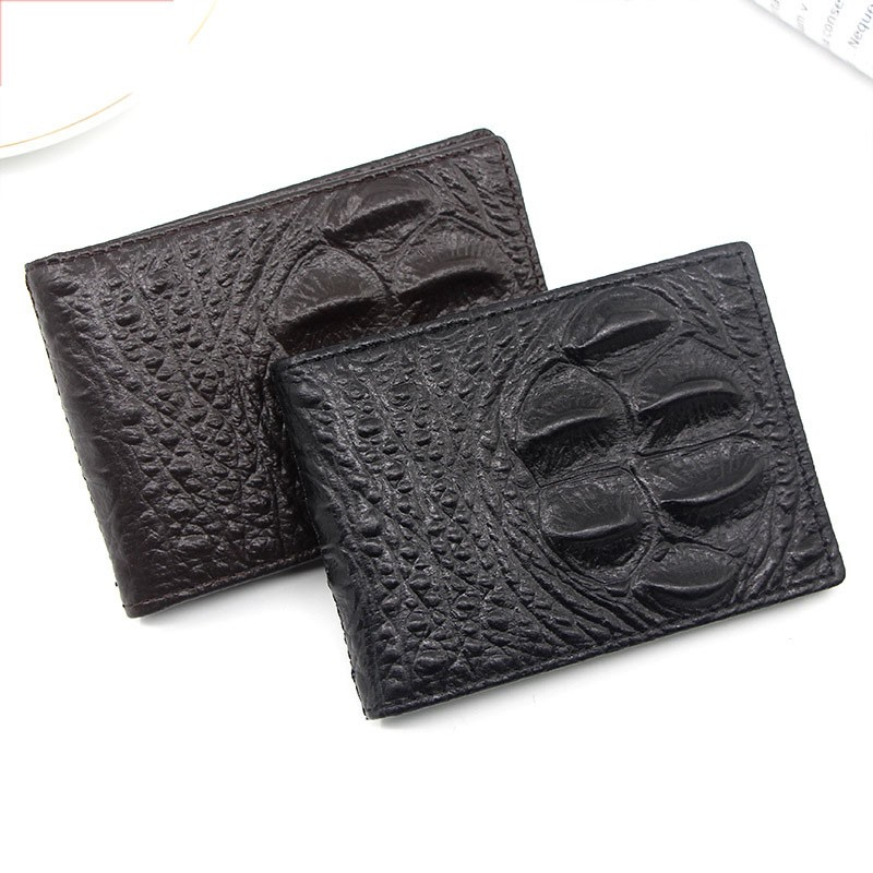 Short Wallet Card Holder Driving License Wallet First Layer Cowhide Crocodile Pattern Bifold Casual Vintage Genuine Leather Men