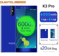 OUKITEL K3 Pro 4GB+64GB Smartphone Android 9.0 Pie MT6763 Octa Core 5.5 FHD 6000mAh Face ID 9V/2A Flash Charge Mobile Phone