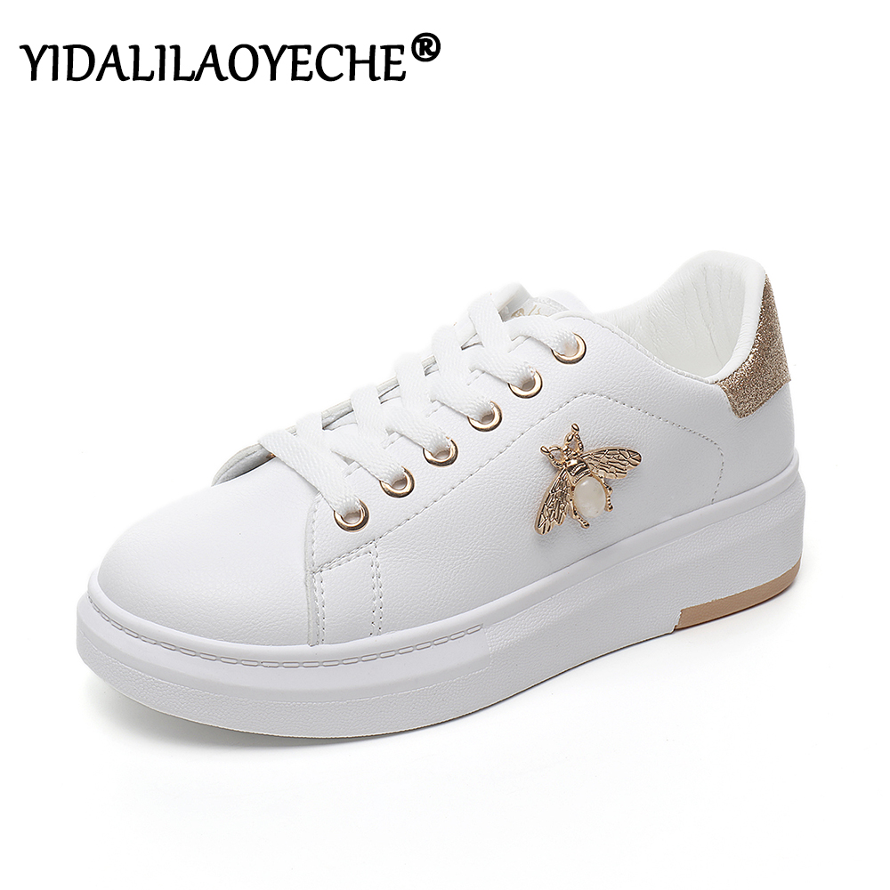 PU Platform Sneakers Soild 2020 Women Smeakers Shoes Metal Decoration Women Trainers Lace Up Chunky Sneakers Wonen