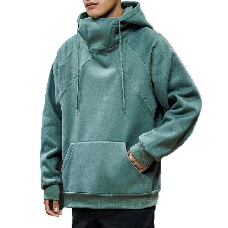 Men Sweatshirt Hoodie 2020 Mens Loose Pullover Tops Autumn hoody Round Neck Hoodies Male Solid Color Green Hooded Sweatshirts