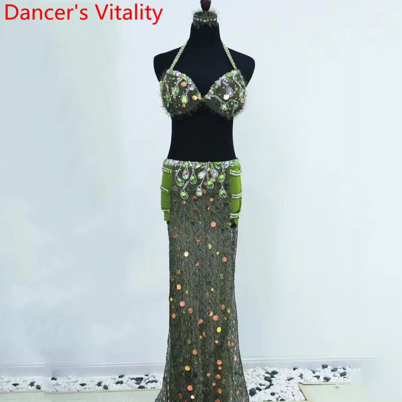 Women Belly Dance Group Competition Suit Sling Bra Green Sexy Split Skirt Set Drum Oriental Indian Dancing Performance Wear