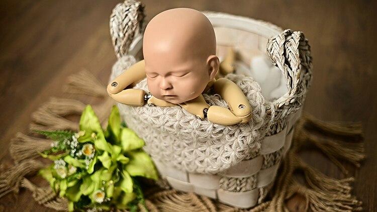 Bebê recém-nascido tecelagem cesta fotografia prop infantil