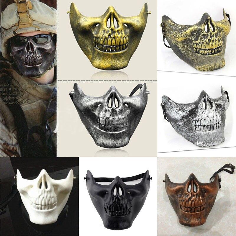 Men Half Face Skull Skeleton Mask Halloween Mask Party Cosplay Costume Horror Masks