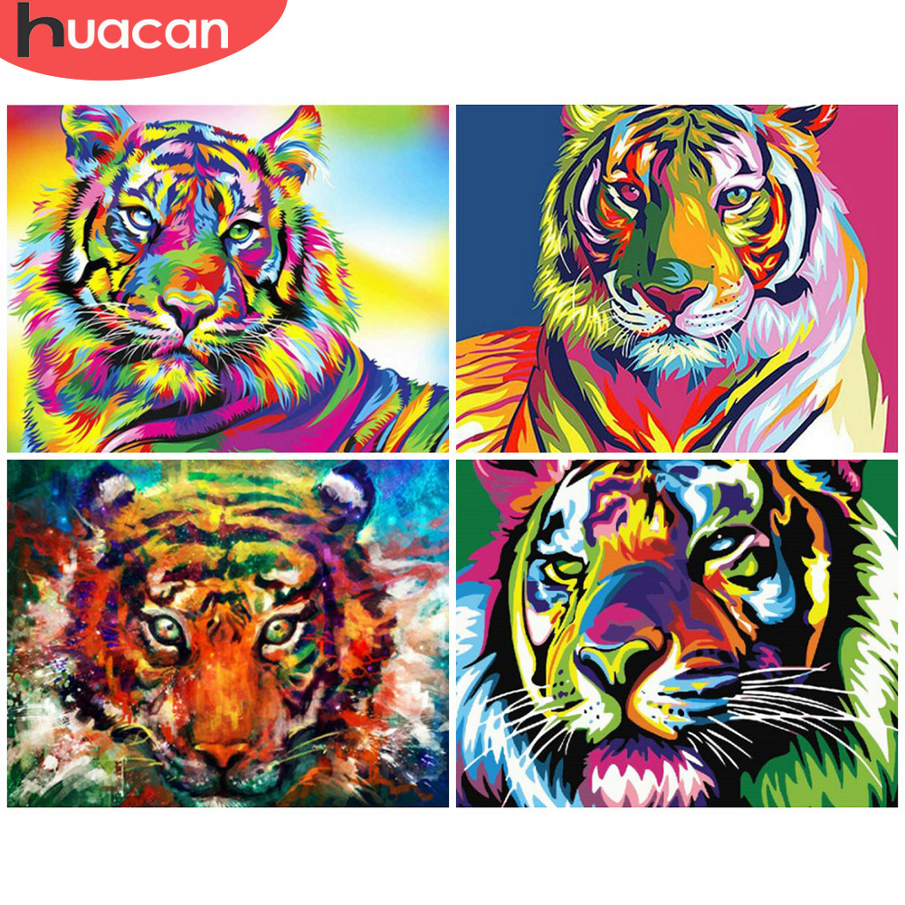 HUACAN Painting By Numbers Animal Drawing On Canvas HandPainted Art Gift DIY Picture By Number Colorful Tiger Kits Home Decor