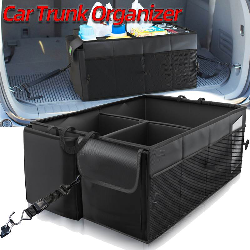 Universal Foldable Portable Car Trunk Cargo Organizer Bag Non Slip Strips Collapsible Storage Case Tools Bag With Secure Straps