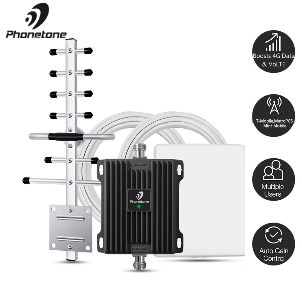 1700MHz Cell Phone Booster For Home High Gain Antenna Signal Booster T-Mobile Band 66/4 Supports Up To 2500 Square Foot Area