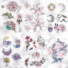 Flower Totem Dream Catcher Butterfly Moon Temporary Tattoo Sticker Pendant Doll Watercolor Tattoos Body Art Fake Tatoo(China)