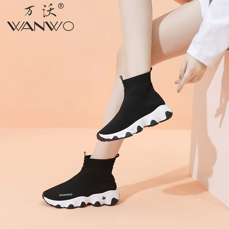 Socks Shoes Women 2020 high top stretch summer socks shoes for women net red ankle boots for Korean casual sneakers all match