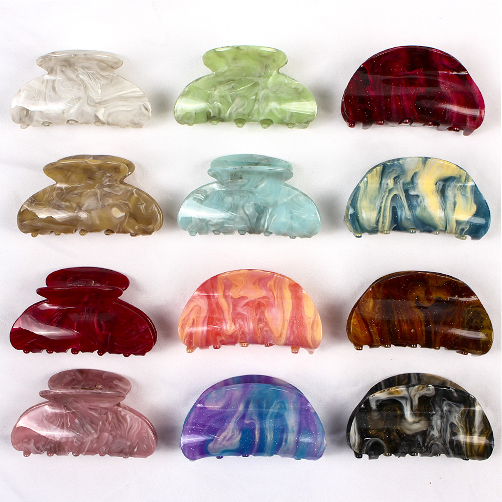 Acrylic Hair Claw Clips Women Girls Candy Color Hairpins Marble Slab And Star Board Medium Horsetail Clip Hair Accessories