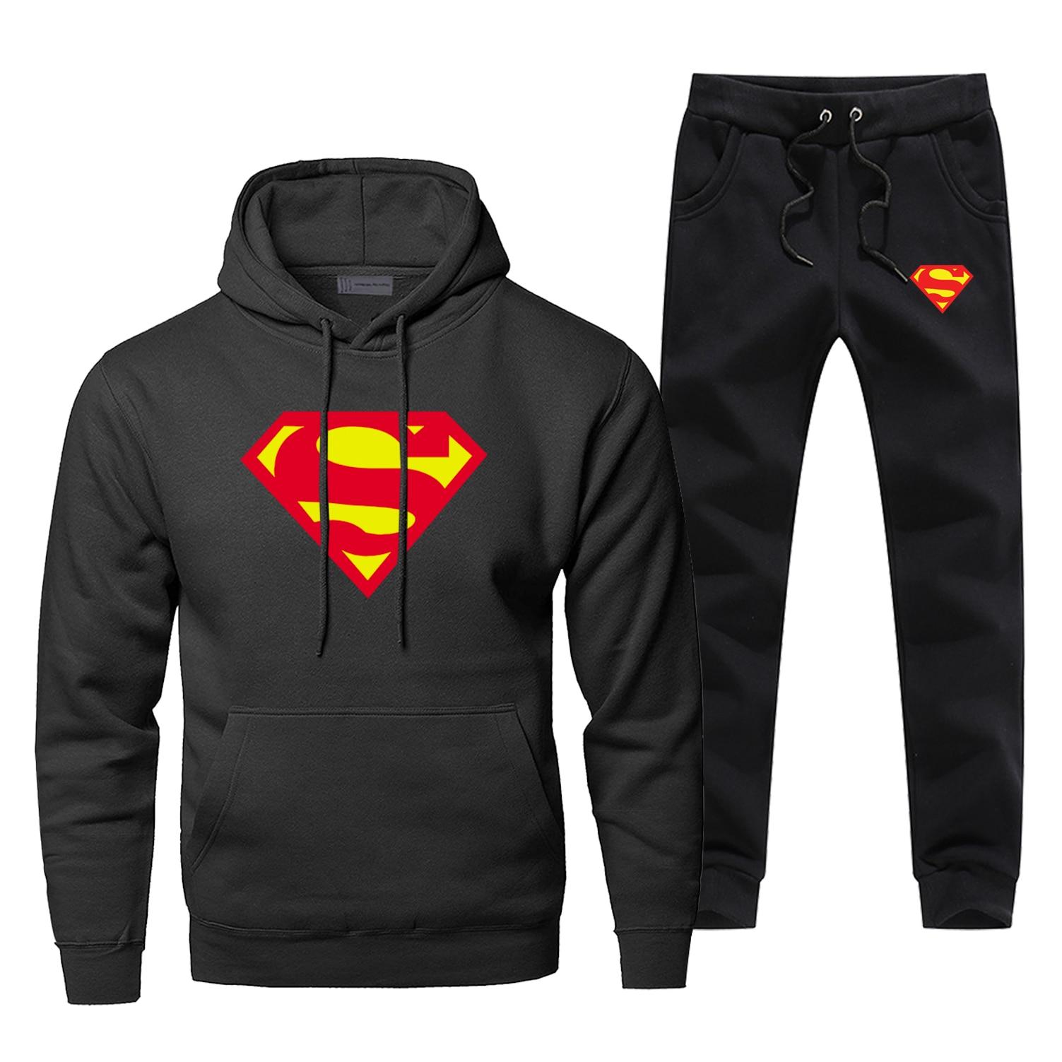 Superman Clark Kent Hoodies Pants Men Sets Track Suit Two Piece Tops Pant Sweatshirt Sweatpants Autumn Sports 2 PCS Tracksuit