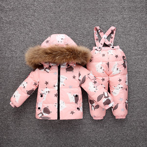 Image 2 -  30 Degrees Winter Warm Baby Down Ski Set Baby Girls Thickening Down Snowsuits Baby Boys Natural Fur Jacket+Pant
