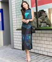 HOT SELLING pleated miyake o neck sleeveless geometric print pleated A line dress IN STOCK