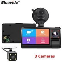 Bluavido 3 câmeras simultaneamente gravação do carro dvr fhd 1080p visão noturna gravador de vídeo registrador 24 horas estacionamento monitor