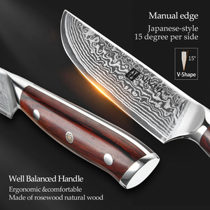 Image 4 - XINZUO 5 inch Steak Knife Damascus VG10 Steel Kitchen Knives High Quality Cutter Tools Utility Knife with Rosewood Handle