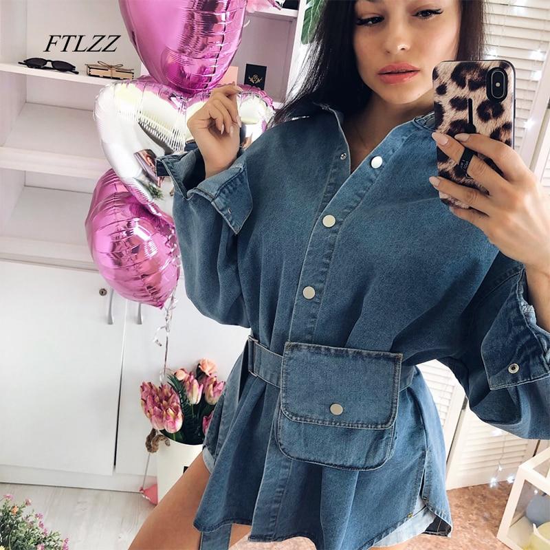 FTLZZ Spring Summer Women Solid Denim Blouse Female Pocket With Belt Slim Dress Ladys Single Breasted Vintage Shirts Outerwear