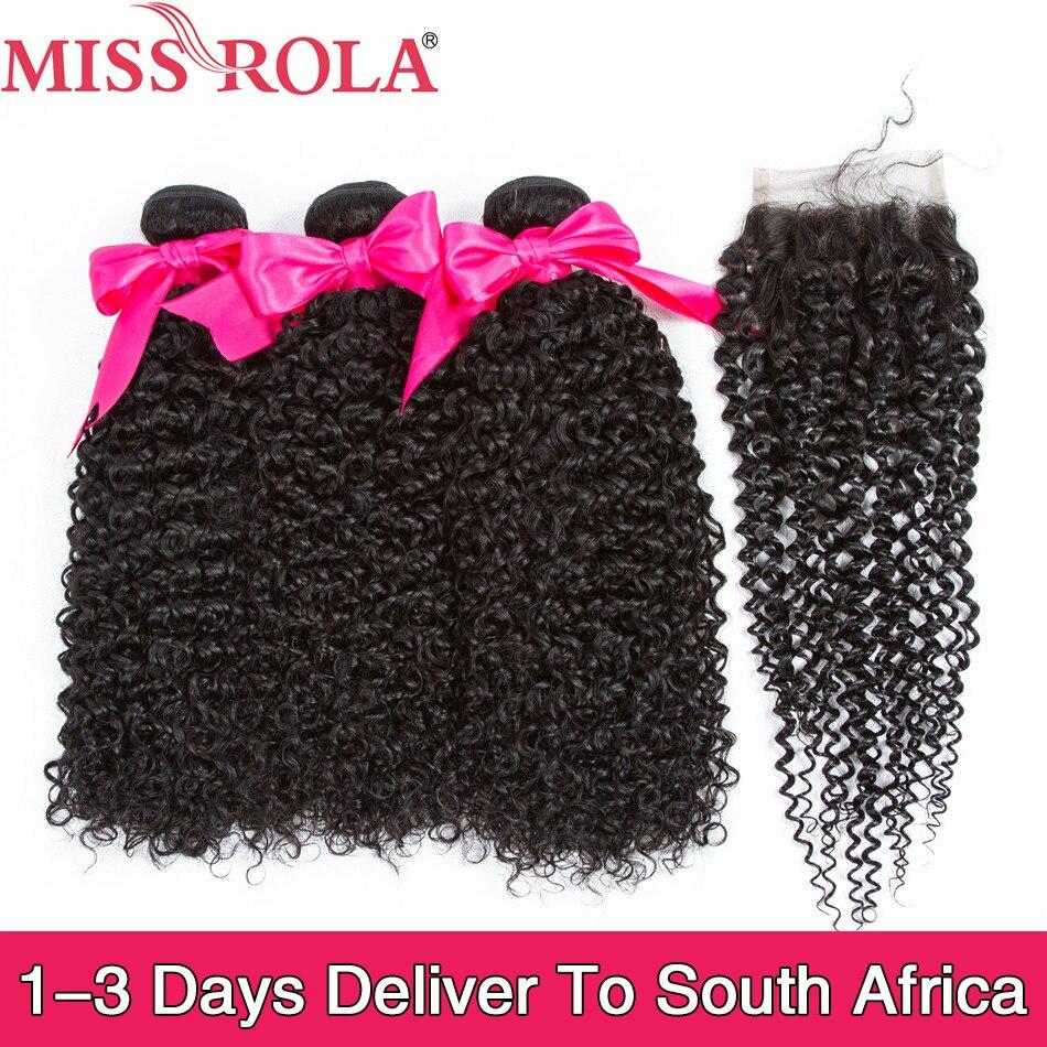 Hair-Bundles Closure Kinky Miss-Rola Peruvian Curly Remy 100%Human-Hair