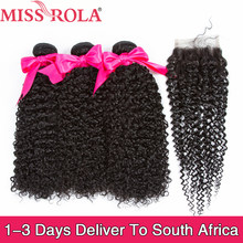 Miss Rola Peruvian Hair Bundles with Closure Kinky Curly 3 Bundles with 4*4 Closure 100% Human Hair Remy Hair Extensions(China)
