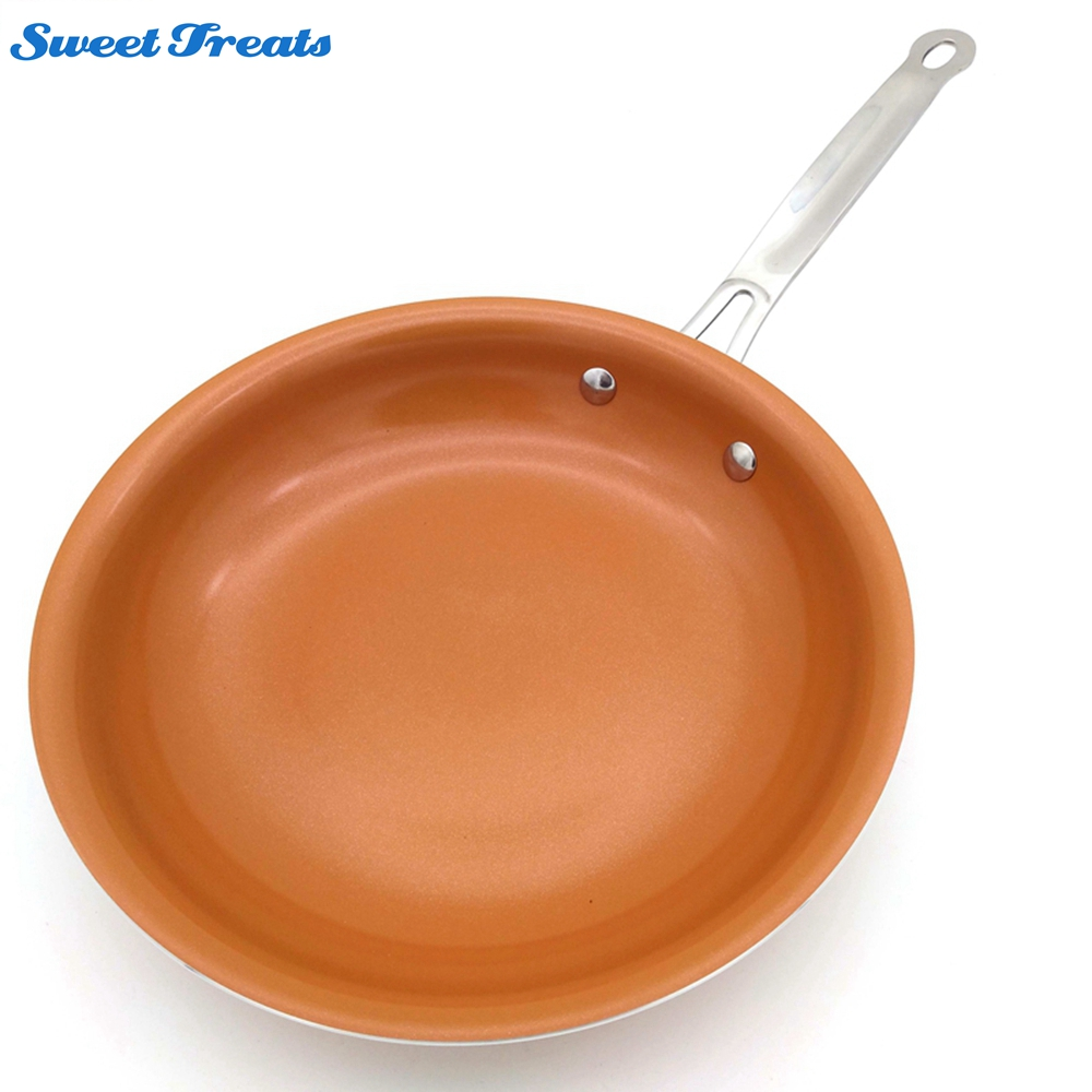 Frying Round Pan Ceramic Coating Induction Cooking Glass Cover Lid Non-stick
