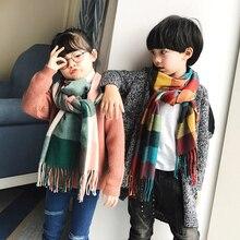 Осенне-зимний шарф для родителей и детей, британский клетчатый теплый мягкий шарф из искусственного кашемира для мальчиков и девочек, модный детский шарф