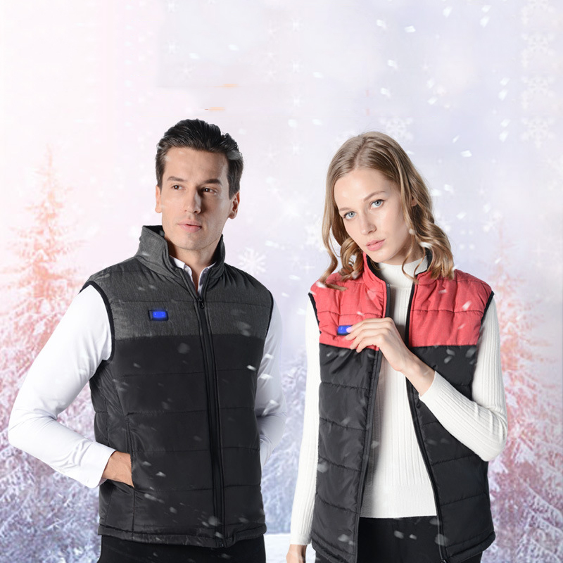 Heating Waistcoat USB Intelligent Dual Control Heating Waistcoat Men And Women Cotton-padded Clothes Stand Collar M