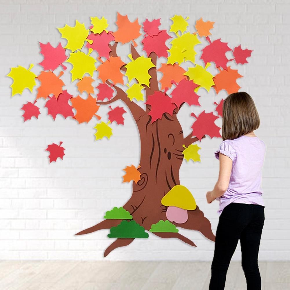 Thanksgiving Craft Tree Kit Maple Leaves Stickers DIY Bulletin Board Self Adhesive For Kids Crafts Activity Toys Gifts